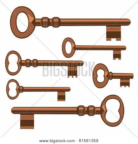Old Keys. Vector Illustration