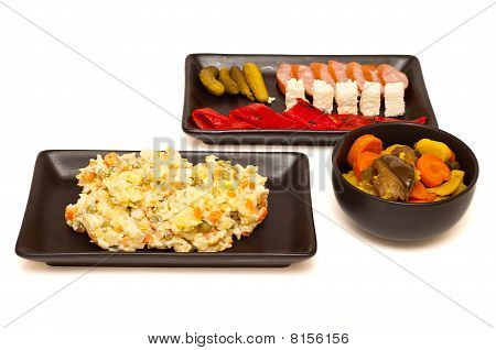 Russian Salad Olivier And Starters Isolated