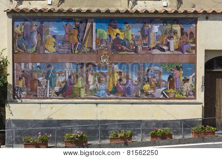 Amalfi Mural, Traditional Hand Painted Ceramic