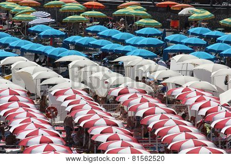 Colorful Beach Umbrellas From The Top