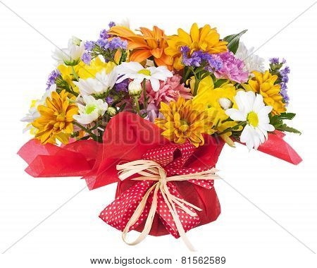 Bouquet Of Gerbera, Carnations And Other Flowers Isolated On White.