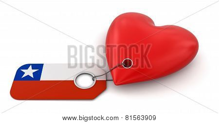 Heart with Chilean flag (clipping path included)