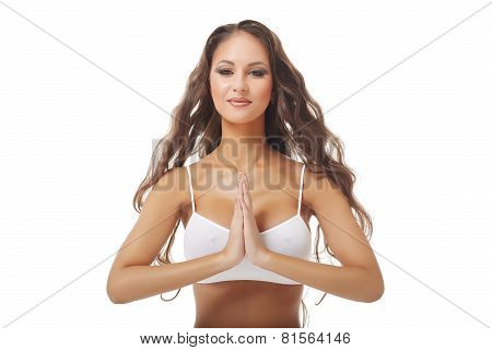 Image of woman with hands in Namaste prayer mudra