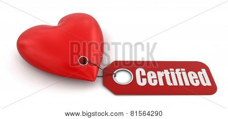 Heart with label certified (clipping path included)