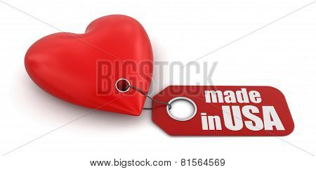 Heart with label Made in USA (clipping path included)