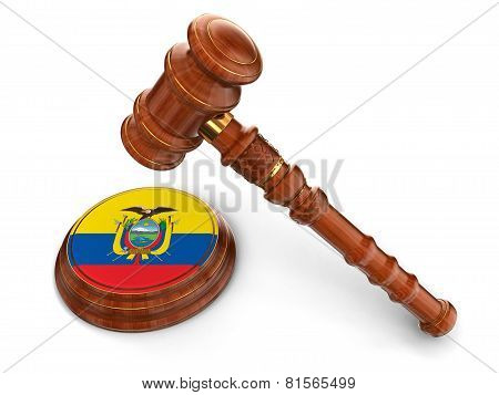 Wooden Mallet and Ecuadorian flag (clipping path included)