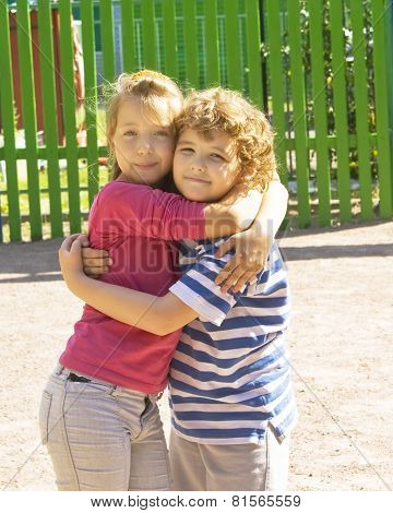 Little Children Embracing