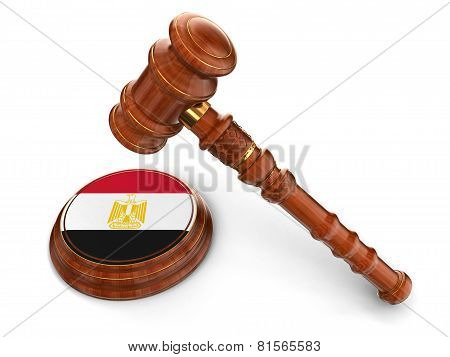 Wooden Mallet and Egyptian flag (clipping path included)