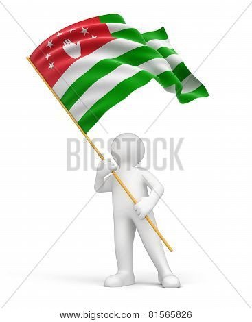 Man and flag Abkhazia (clipping path included)