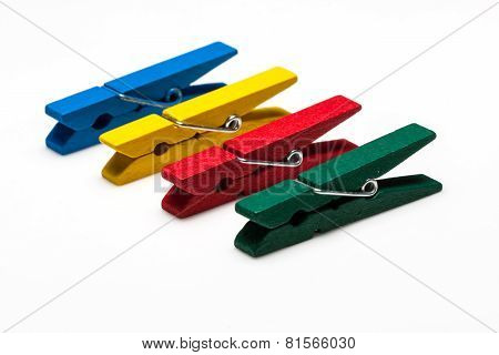 colorful wooden peg isolated