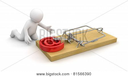 Man and Mousetrap with E-Mail (clipping path included)
