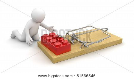 Man and Mousetrap with Block (clipping path included)
