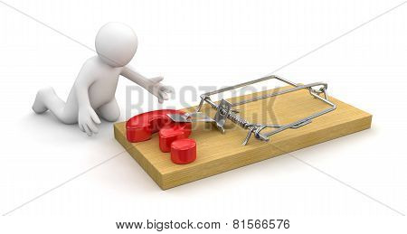 Man and Mousetrap with Quest (clipping path included)