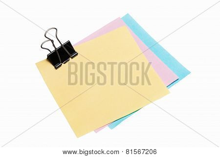 post-it note paper with binder clip