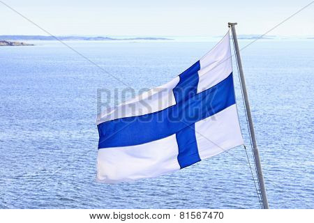 Flag Of Finland, Cruise On Baltic Sea.