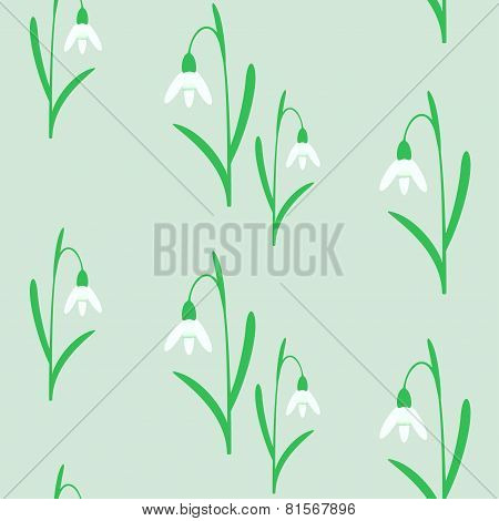 Seamless background with snowdrops.