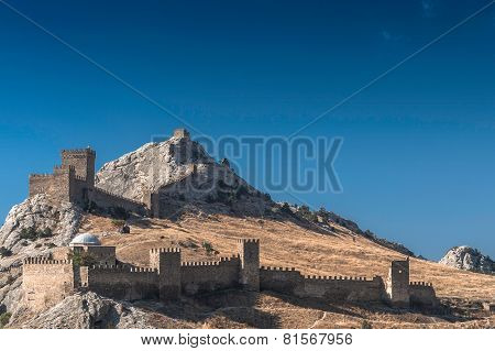 Genoese fortress in Crimea on a rock on the shore of the Black Sea