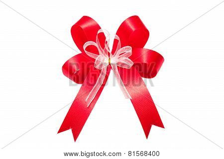 Red ribbon satin bow isolated