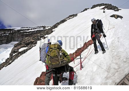 Climbers on Mount Rainier, Washington USA
