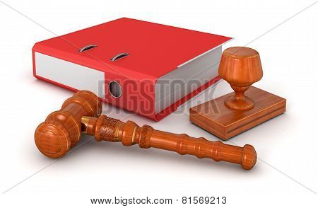 Rubber Stamp,  Wooden Mallet and Document