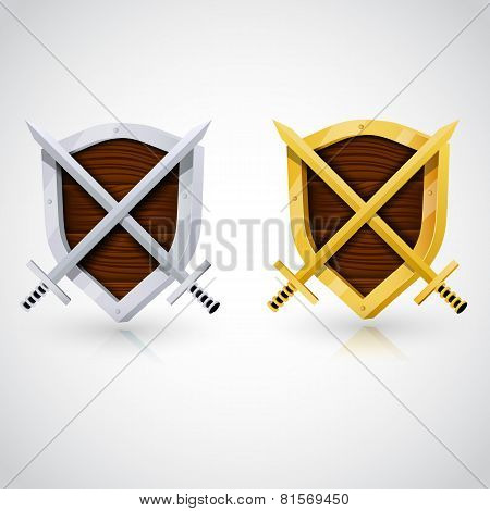 Wooden shield with swords