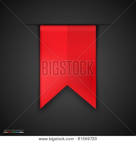 Red bookmarks isolated on dark background