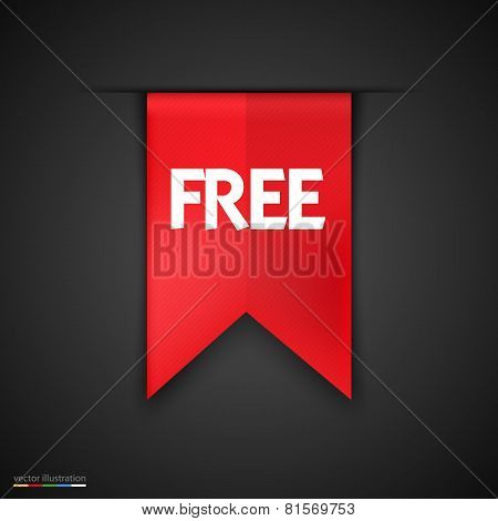 Free Product Red Label Icon Vector Design