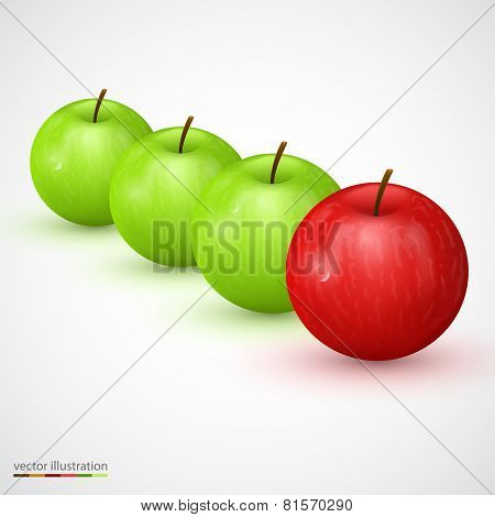 Row of green apple with red main one
