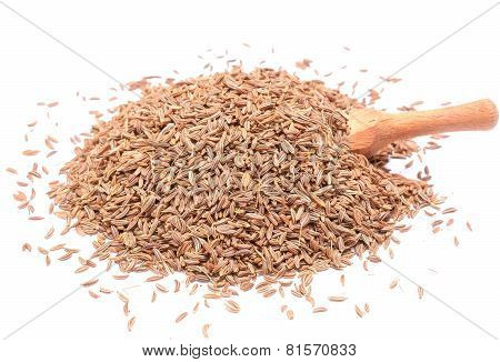 Pile Of Caraway Seeds Isolated On White Background