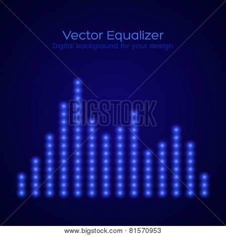 Equalizer on dark blue background