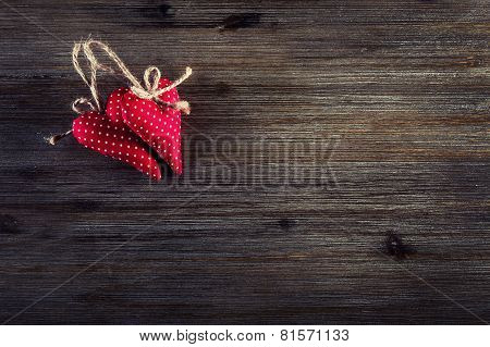 Valentines day. Red cloth handmade hearts