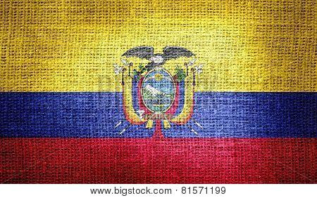 Ecuador flag on burlap fabric