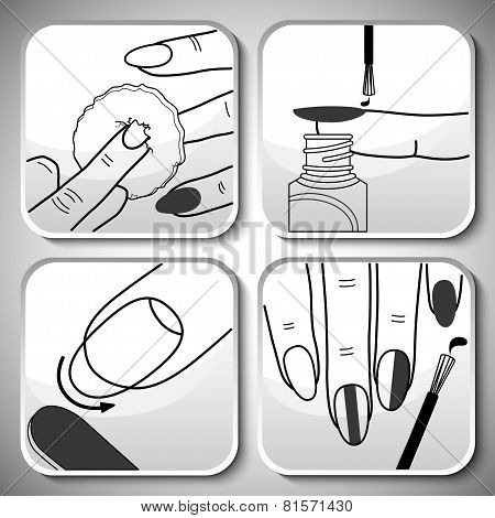 Vector balck manicure icons