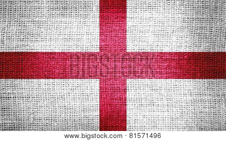 England flag on burlap fabric