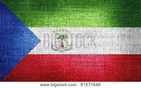 Equatorial Guinea flag on burlap fabric