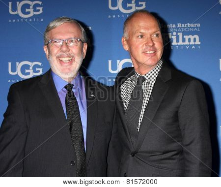 SANTA BARBARA - JAN 31:  Leonard Maltin, Michael Keaton at the Santa Barbara International Film Festival - Modern Master at a Arlington Theater on January 31, 2015 in Santa Barbara, CA