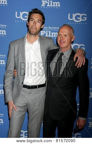 SANTA BARBARA - JAN 31:  Sean Douglas, Michael Keaton at the Santa Barbara International Film Festival - Modern Master at a Arlington Theater on January 31, 2015 in Santa Barbara, CA