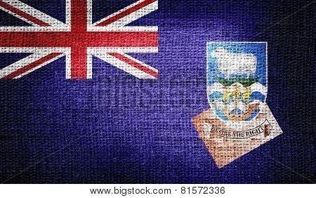 Falkland Islands flag on burlap fabric