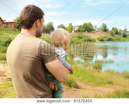 Abstract Dream Photo Father And Child Together Outdoors In Summer Day Enjoying Countryside Landscape