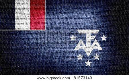 French Southern and Antarctic Lands flag on burlap fabric
