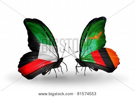 Two Butterflies With Flags On Wings As Symbol Of Relations Kuwait And Zambia