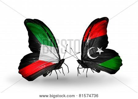 Two Butterflies With Flags On Wings As Symbol Of Relations Kuwait And Libya