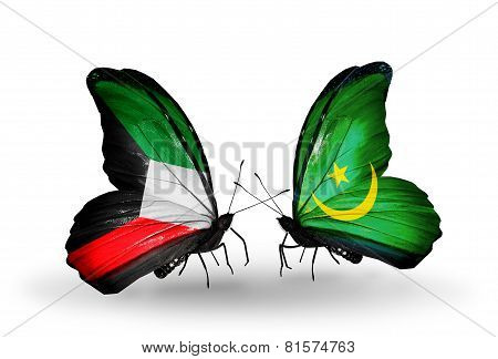Two Butterflies With Flags On Wings As Symbol Of Relations Kuwait And Mauritania