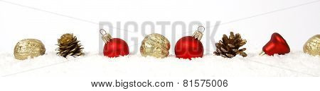 Christmas Decoration from baubles, cones and nuts