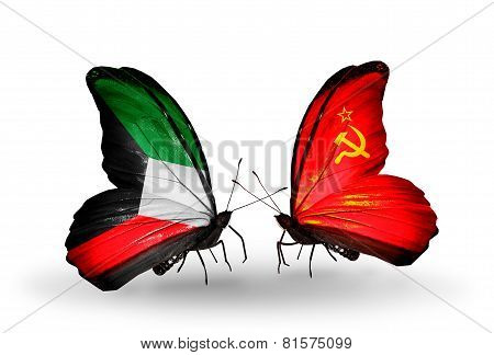 Two Butterflies With Flags On Wings As Symbol Of Relations Kuwait And Soviet Union