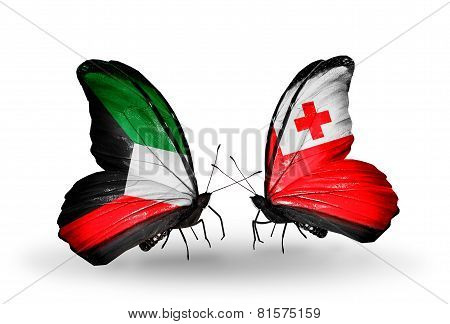 Two Butterflies With Flags On Wings As Symbol Of Relations Kuwait And Tonga