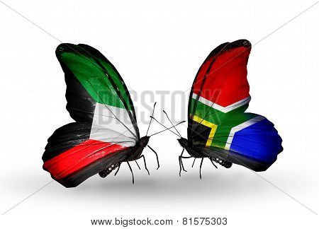 Two Butterflies With Flags On Wings As Symbol Of Relations Kuwait And South Africa