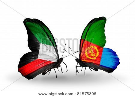 Two Butterflies With Flags On Wings As Symbol Of Relations Kuwait And Eritrea