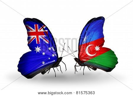 Two Butterflies With Flags On Wings As Symbol Of Relations Australia And Azerbaijan