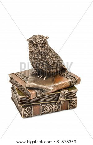 Statuette Owl Sitting On Book